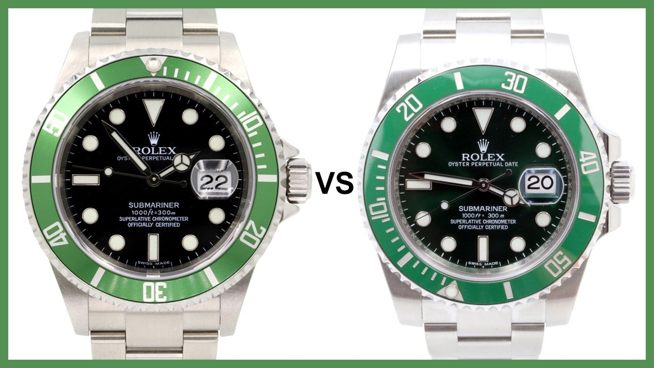 ▶ Rolex Submariner KERMIT (black, green aluminum) vs. HULK (green, ceramic)  COMPARISON