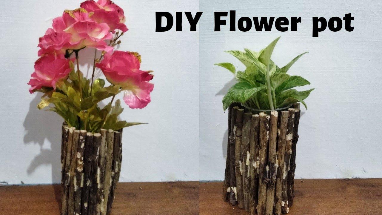 Cara Membuat Pot Bunga Unik Dari Ranting Kayu Vas Bunga Unik Youtube