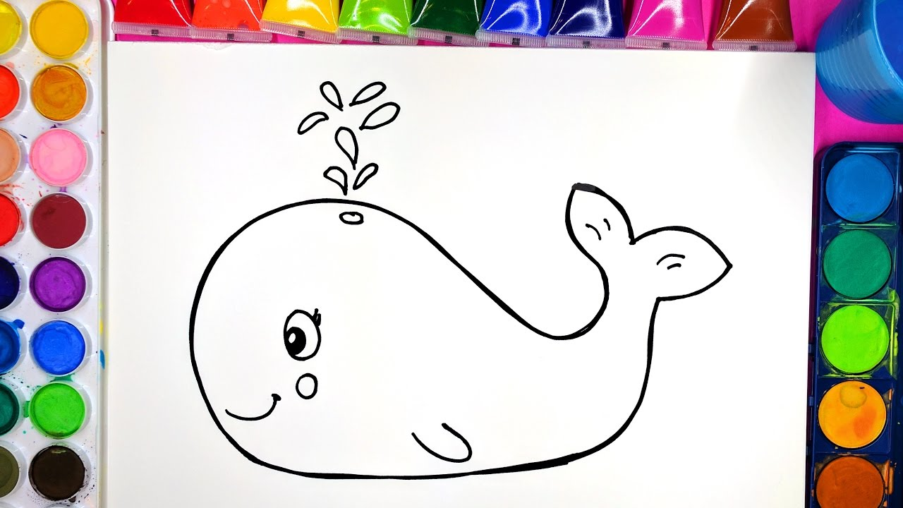 draw color paint smiling whale coloring page for kids to learn