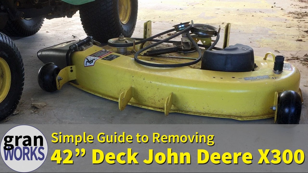 removing a 42 in deck from a john deere x300 [ 1280 x 720 Pixel ]