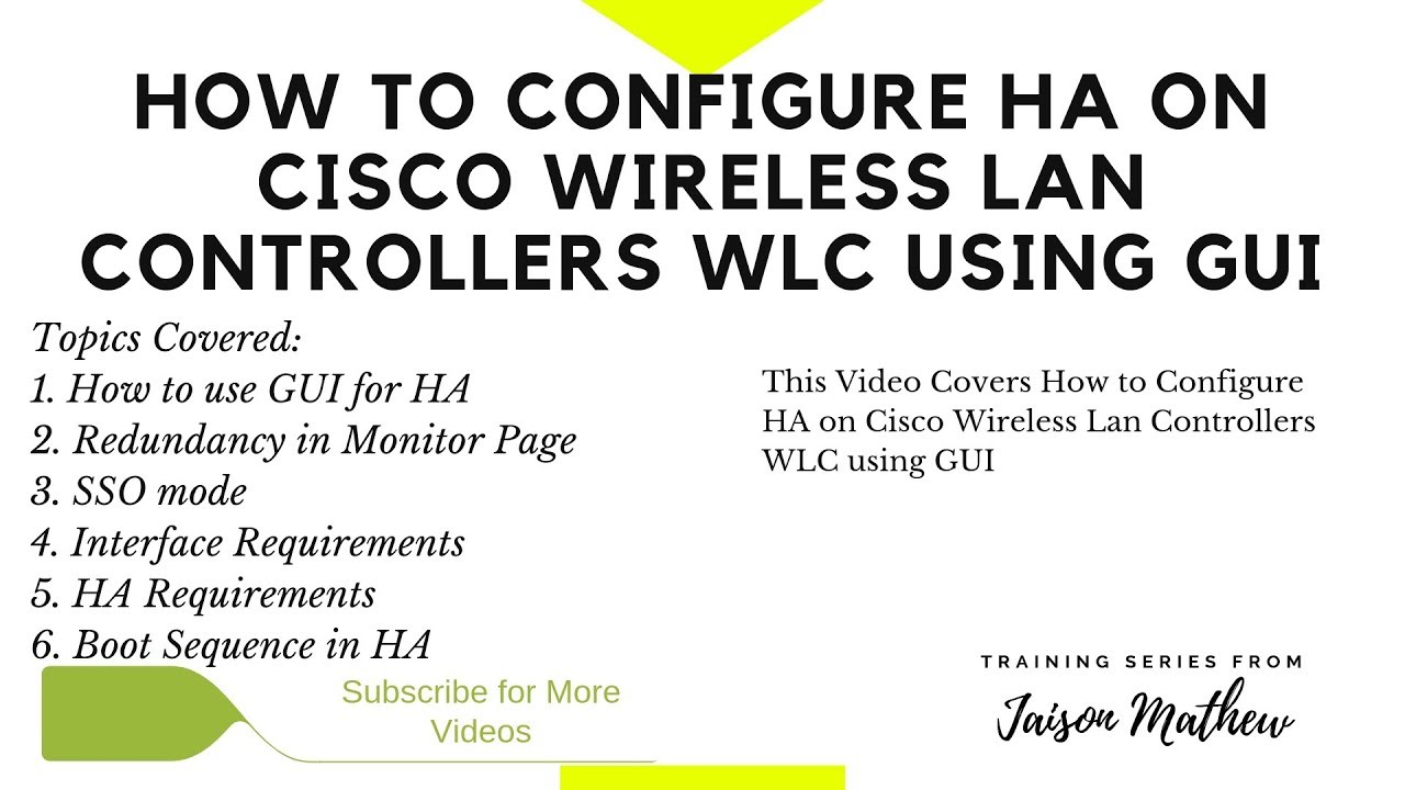 How to Configure HA on Cisco WLC using GUI
