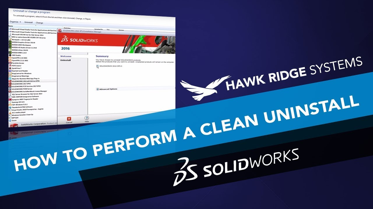SOLIDWORKS: Advanced Options - Clean Uninstall