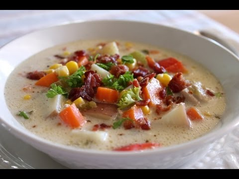 Easy Delicious Chicken Corn Chowder - Great Soup Recipe for Slow Cooker / Crock Pot