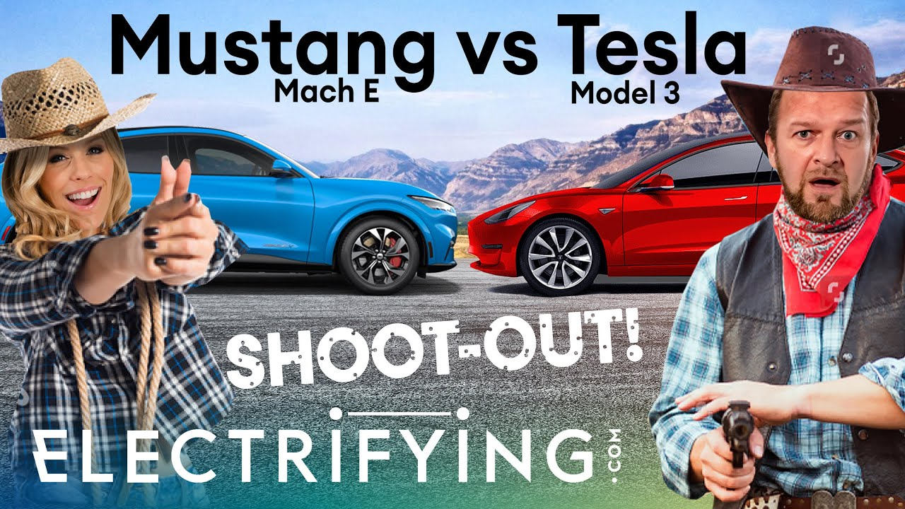 Ford Mustang Mach-E vs Tesla Model 3: American EV shoot-out! / Electrifying
