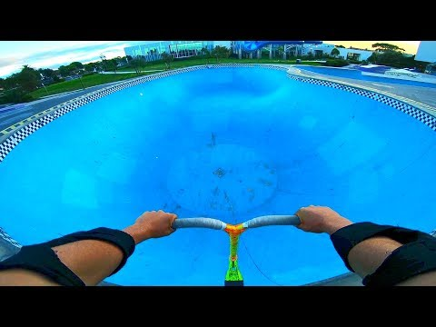 RIDING AN EMPTY SWIMMING POOL ON SCOOTER!