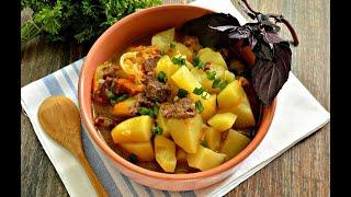 ТУШЁНАЯ КАРТОШКА С МЯСОМ!Простой и вкусный рецепт тушеной картошки.