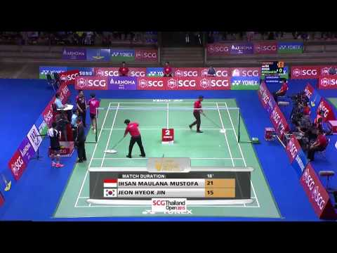 SCG Thailand Open 2015 | Badminton SF M3-MS | Ihsan Maulana Mustofa vs Jeon Hyeok Jin