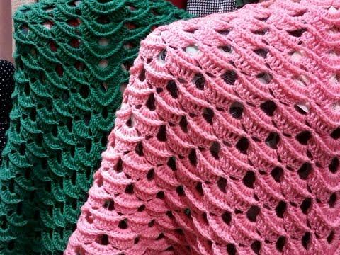 Вязание шаль крючком очень простой и красивый узор