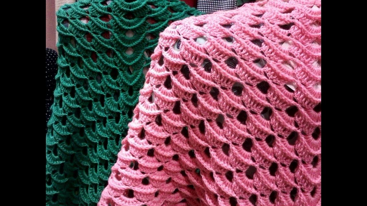 вязание шаль крючком очень простой и красивый