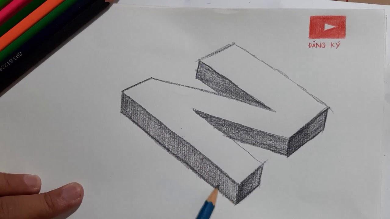 Hướng dẫn vẽ chữ N 3D trên giấy kẻ ngang