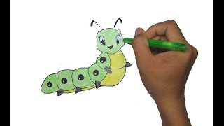 How to Draw Cute Caterpillar For Kids