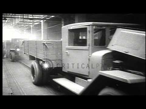 Russian workers work in a truck factory in Moscow, Soviet Union. HD Stock Footage