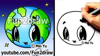 Earth Day - How to Draw a Cute Earth (Kawaii Drawings)