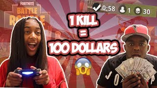 1 KILL = $100 w/ MY 14 YEAR OLD SISTER - Fortnite Challenge (CRAZY REACTION)