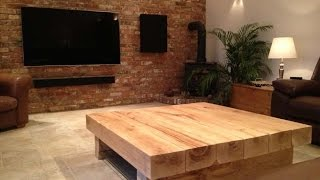 Large Square Coffee Table Oak Wood Design UK