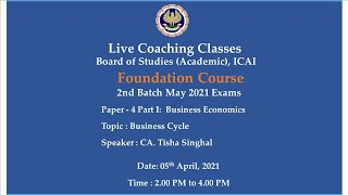 Foundation Paper-4 Part 1 : BE - Topic: Business Cycle,Afternoon Session Date:05-04-2021