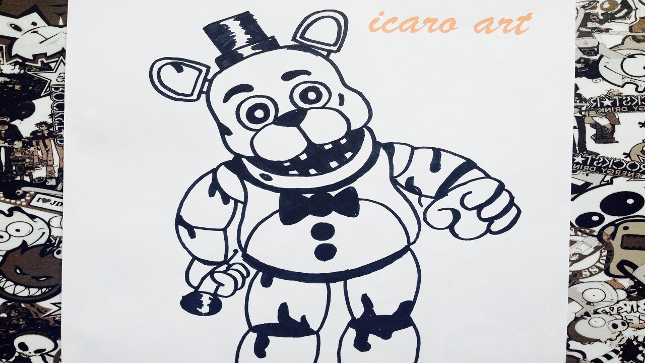 como dibujar a old freddy de five nights at freddy s how to draw