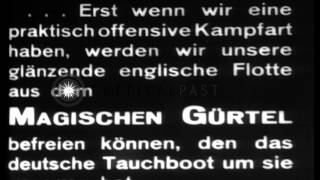 German submarine UB-35 leaves port on mission during World War I HD Stock Footage