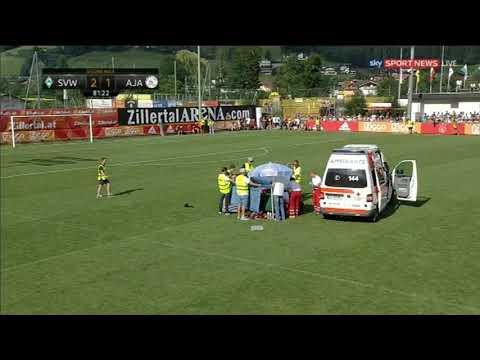 Abdelhak Nouri has collapsed to ground Werder Bremen vs Ajax 2-1