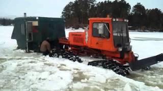 Tucker Sno Cat pulling ice shack Nokomis