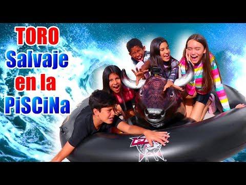 TORO SALVAJE en la PISCiNA | Reto con inflable | TV Ana Emilia