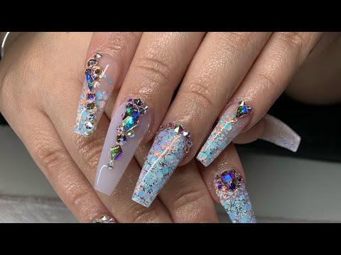 White Opal Coffin Nails | Acrylic Nail Tutorial | Houston Diva Nails