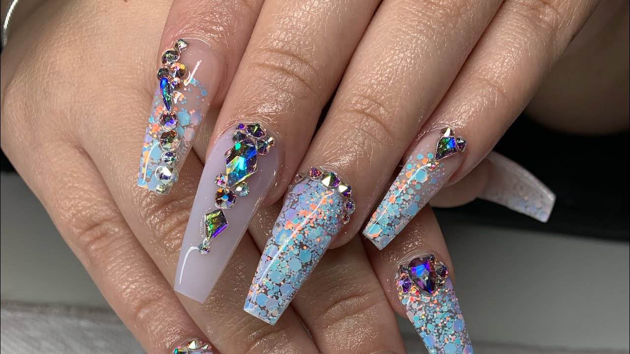 White opal coffin nails | Acrylic nail tutorial | Houston Diva Nails ...