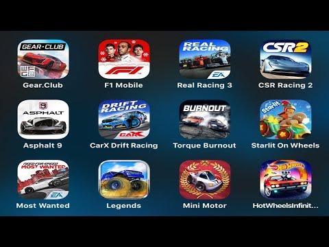 Gear Club,F1 Mobile,Real Racing 3,CSR Racing 2,Asphalt 9,CarX Drift,Most Wanted,Legends,Hot Wheels