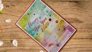 Happy New Year 2020 greetings cards Handmade watercolor greetings