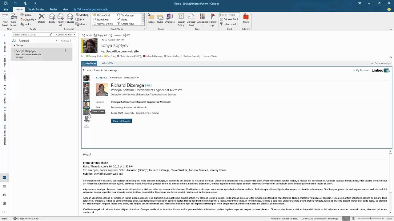 LinkedIn Outlook add-in demonstration