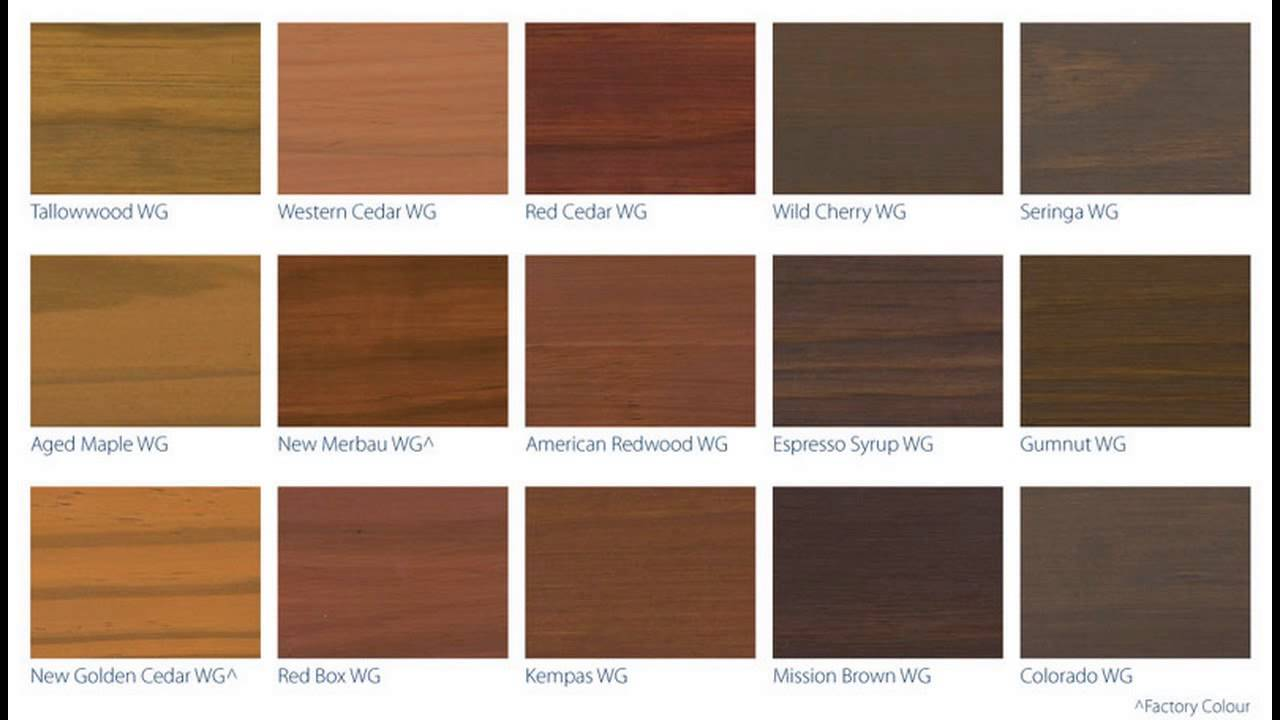 Deck stain color chart youtube Wood colour paint