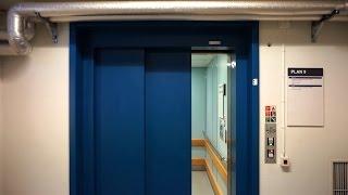 Rare DEVE holeless hydraulic elevator with flat buttons @ Linköping University Hospital