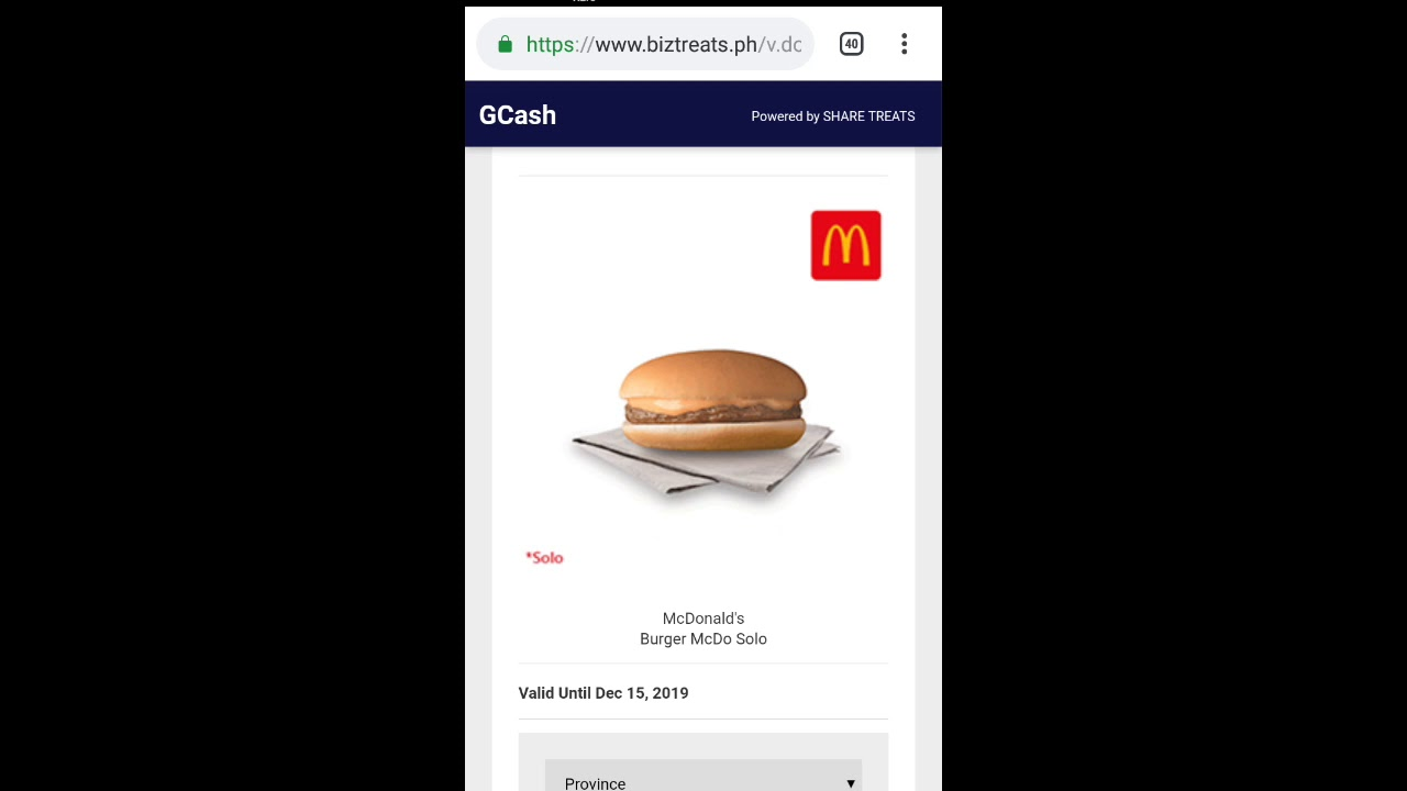 Free Burger Mcdo promo from G cash