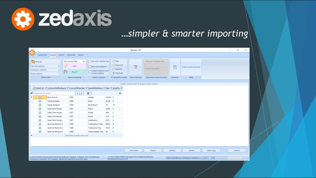 Axis - import and export utility | QuickBooks App Store