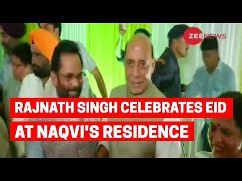 Defence minister Rajnath Singh celebrates Id-ul-Fitr at Naqvi's residence