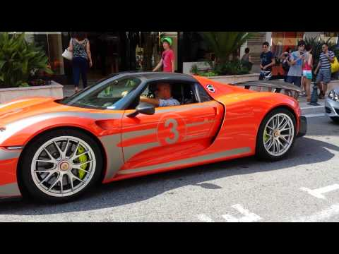 orange porsche 918 spyder in monaco. Black Bedroom Furniture Sets. Home Design Ideas
