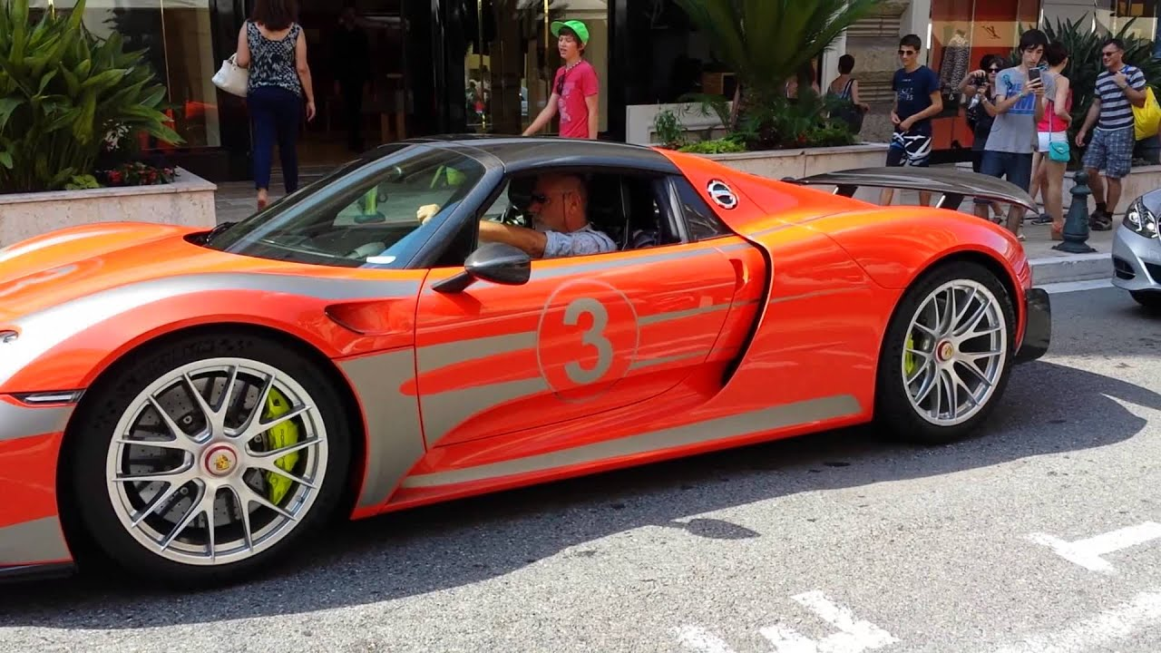 orange porsche 918 spyder in monaco youtube. Black Bedroom Furniture Sets. Home Design Ideas