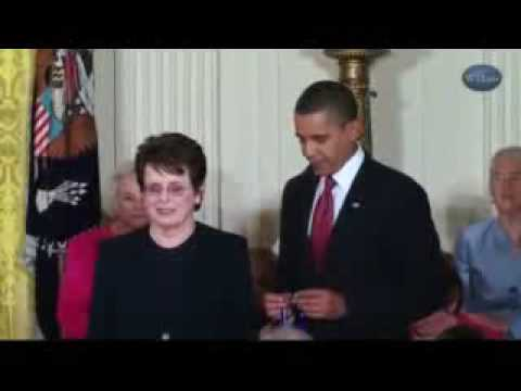 Billie Jean King Receives Medal of Freedom from President Obama