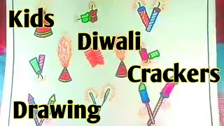 How to draw diwali crackers for kids - Kids diwali drawing