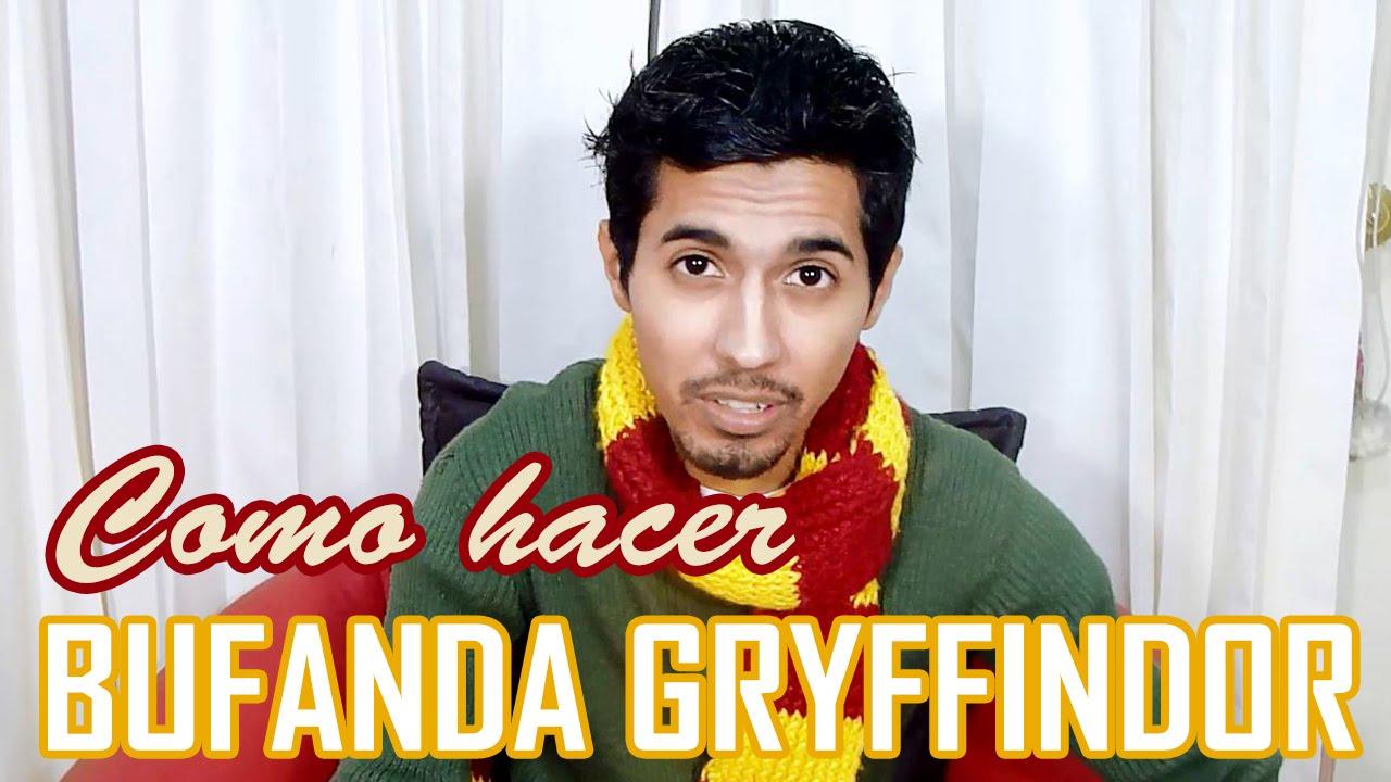 Cómo hacer Bufanda Gryffindor / Harry Potter / Dos colores horizontal DIY , YouTube