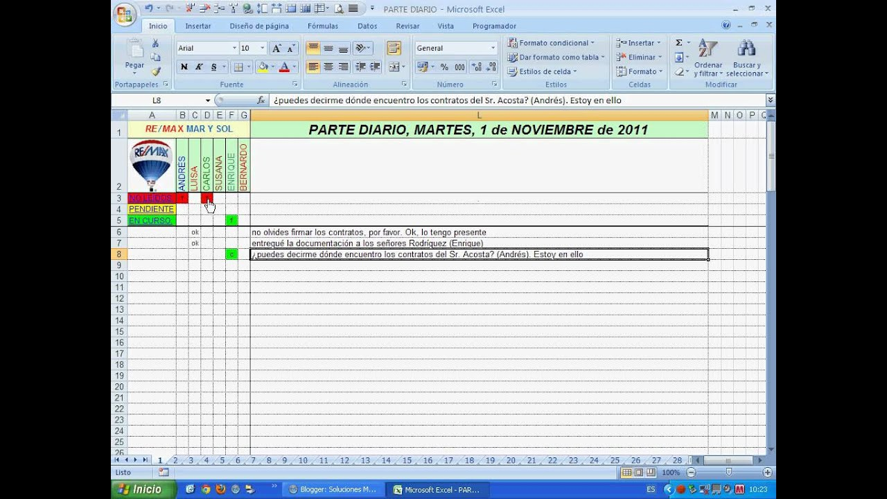 Excel 2007: Hazte un parte de incidencias 1 de 2.avi - YouTube