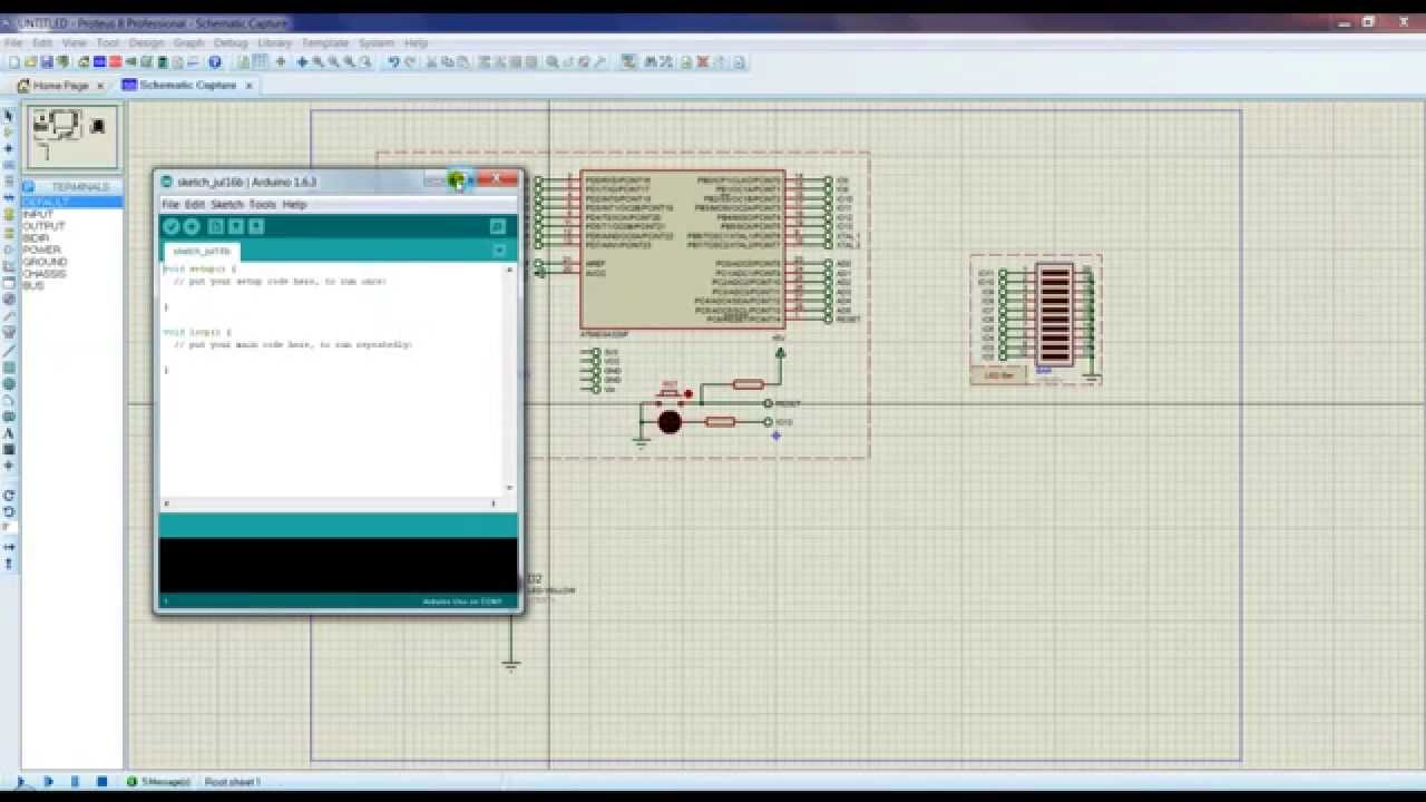 Proteus 8 Professional Project clip com ATMega328P Arduino Virtual parte 2