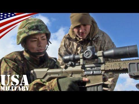 陸上自衛隊・第1空挺団 米軍スナイパーライフル体験(M110・M40) - Japanese Airborne Brigade how to use US Sniper Rifle