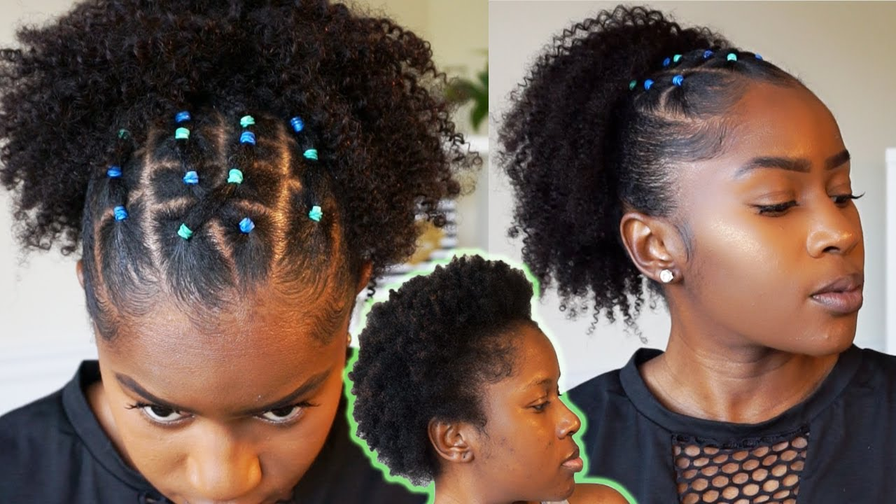 Rubber Band Ponytail on Short 11c Natural Hair!!! Hour or Less  Hairstyle!!!AmazingBeautyHairMona B.