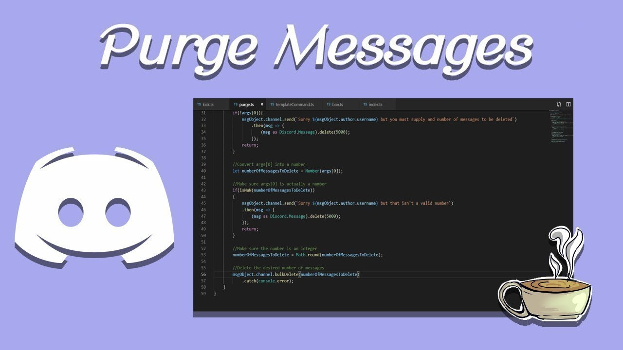 Coding Your Own Discord Bot - Discord js - Purge Messages - *NEW*