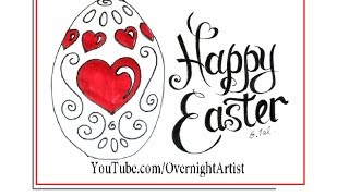easter draw easy card egg hearts