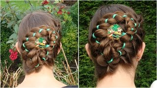 St. Patrick's day ribbon braided updo tutorial
