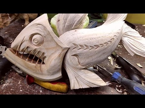 WoodCarving ANGLER FISH ► Timelapse | DIY Project Tools Techniques by Darafey.ru