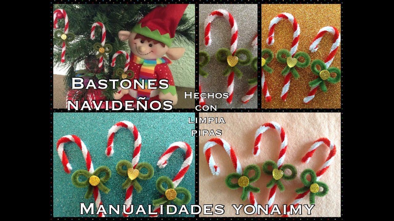 Baston navide o hecho con limpia pipas youtube for Menu navideno facil de hacer