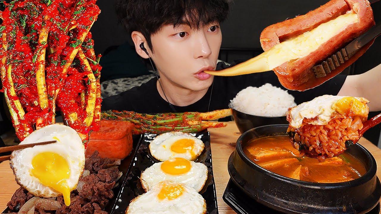MUKBANG | 직접 만든 열무 김치 레시피 & 치즈 통스팸, 된장찌개, 비빔밥, 계란 먹방 | KIMCHI RECIPE KOREAN HOME FOOD
